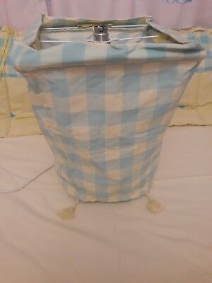 Mamas and papas Unisex Pale Yellow & Aqua Blue Checked lampshade with tassles