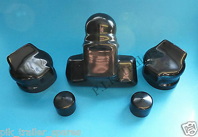 Plain Black Towball Cover with 2 x 7 Pin Plug & Socket Covers