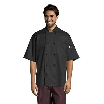 Monterey chef coat, short sleeve, Black, XS to 3XL, 0484