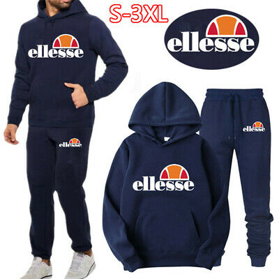 Ellesse Men Full Tracksuit Set Fleece Hoodie Pullover Pants Bottoms Jogging Suit