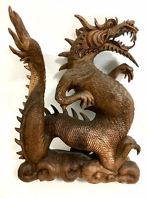 Very Large Chinese Oriental Antique Hand Carved Wooden Dragon
