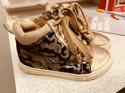 River Island Kids Girls Animal Print Pony Skin Rose Hold High Top Sneakers 9