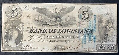 1862 Five Dollar Note-The Bank of Louisiana, New Orleans