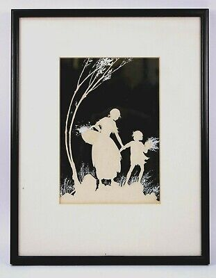 Vintage Whimsical Silhouette Stencil Art Fairies Mother and Child Circa 1970