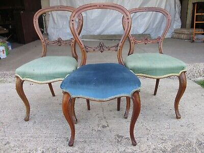 Victorian mahogany balloon back dining chairs (ref 731)