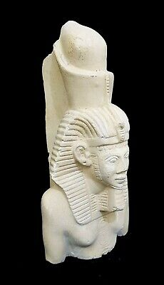 Hieroglyphic Egypt Pharaoh Statue Ancient Egyptian Antique Faience Sculpture