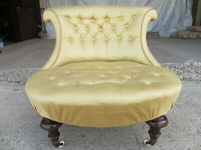 Unusual Victorian scroll back nursing chair (ref 734)