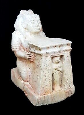 Egypt Antique Block Carved Sculpture Seated Statue Unique Craft Isis & Ushabti