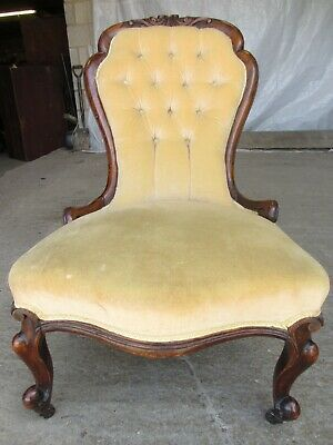 Victorian mahogany spoon and button back nursing chair (ref 735)