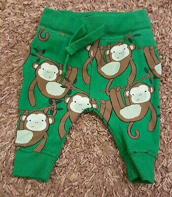 NEXT Green Monkey Jogger Trousers Tracksuit Bottoms BNWOT 3-6 months