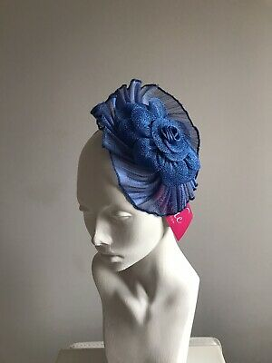 Blue Fascinator Ladies Mini Hat Sinanay Headband Blue Bnwt