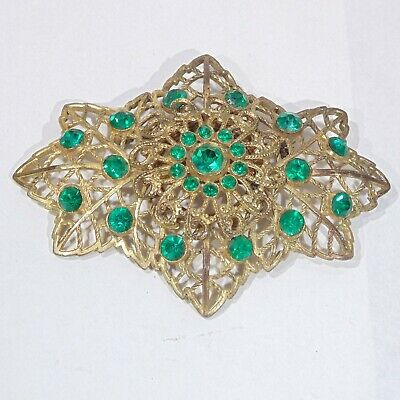 Antique 1930s Art Deco emerald green rhinestone large gold tone filigree brooch