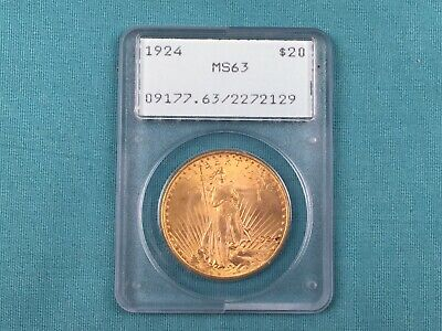 1924 20 Dollar Gold Double Eagle Coin BU $20 Saint Gaudens MS63 PCGS Old Rattler