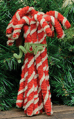 New Primitive Country Rustic Grungy SET 12 VINTAGE CHENILLE CANDY CANE Oranments