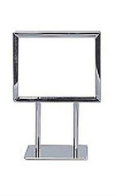 "6 Sign Holders Chrome Fits 5 ½ x 7"" Signs Twin Stem Metal Countertop Tabletop"