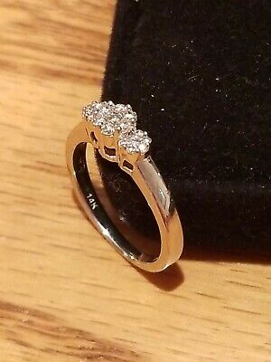 Diamond Ladies Cluster Floral Engagement Ring 14K Solid white Gold sz 5.5 Beauty
