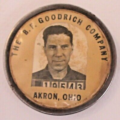 WWII 1940s B.F. GOODRICH Akron TIRES employee badge pinback button HOME FRONT a3