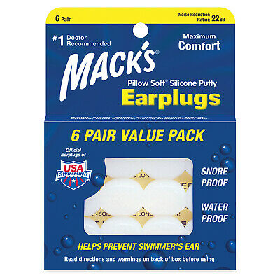 Mack's Pillow Soft Earplugs White 6 Pairs (Pack of 5)