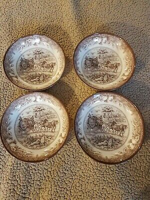"""NEW Set of 4 Royal Stafford Brown Carriage Horses 9"""" Soup Cereal Pasta Bowls"""