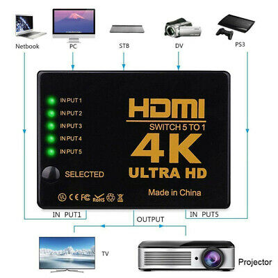 5 in 1 1080p HDMI Splitter Switch Adapter Switcher 4K Ultra HD HDCP 3D HDR Set