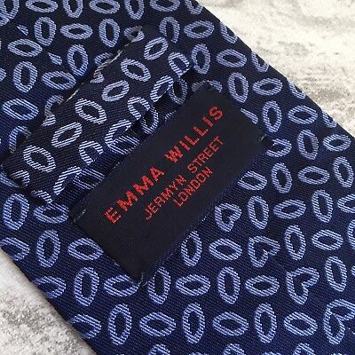 Emma Willis Jermyn Street Tie Blue Oval Hand Made in England Silk necktie