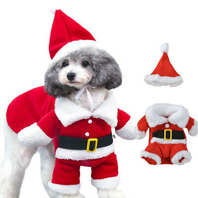 Pet Cat Santa Costume Dog Clothes Hoodie Jumper Xmas Small Coat Outfit Christmas