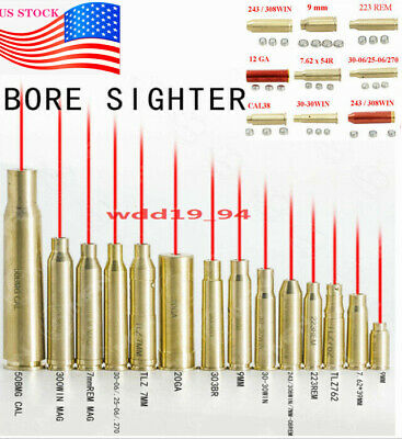 US CAL Red Dot Laser Brass Boresight Bullet Shaped Cartridge Bore Sighter Hunt