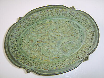 Small Very Old Antique Chinese Bronze Dragon Bowl Dish