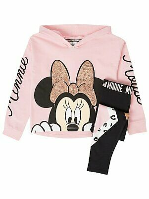 Disney Minnie Mouse Pink Hoodie and Leggings Outfit Girls BNWT
