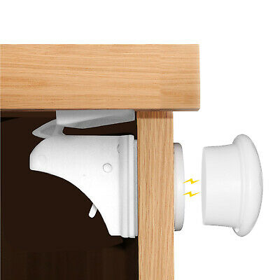 Magnetic Cabinet Locks (8 Locks + 2 Key) w/ 3M Adhesive for Drawers & Shelves