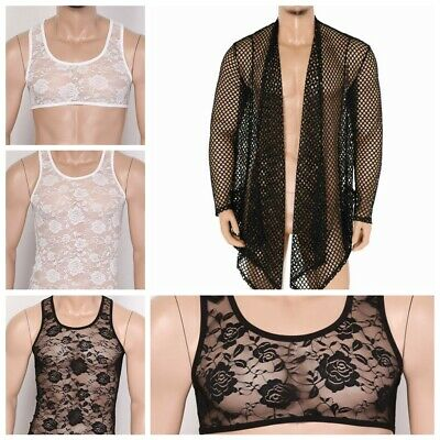 Men Sissy See Through Sheer Lace Muscle Tee Shirts T-shirt Vest Crop Tops Blouse