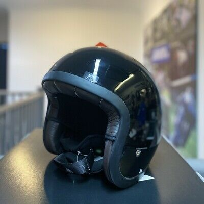 KBC Jet Vintage Open Face Motorcycle Helmet Black Size Medium