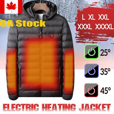 USB Electric Heated Coat Jacket Hooded Heating Vest Winter Thermal Body Warmer