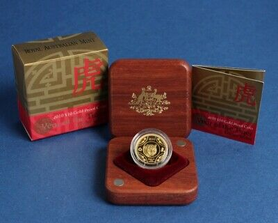 Australia: 2010 $10 Lunar Year of The Tiger 1/10oz Gold .999 Proof, Scarce.