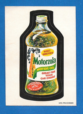 1974 Topps Orig. Wacky Packages 3rd Series OPC Motorzola Oil white  back