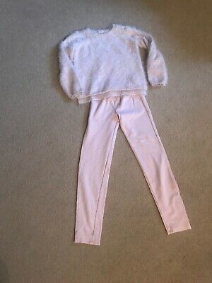 H & M Girls Pink Fluffy Sparkle Stretchy Jump GAP pink Leggings Age  8-10 Years