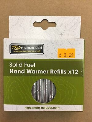 12 Solid Fuel Charcoal Handwarmer Refill Sticks Highlander Jack Pyke Hand Warmer