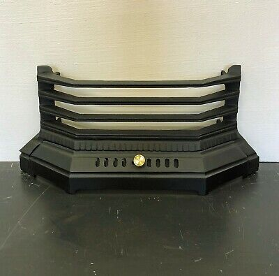 """Victorian / Edwardian Black Cast Iron Fire Front Bar Fret Fender for 16"""" opening"""