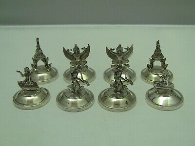 Siam Sterling Silver Weighted Figural Place Card Holders / Set of 8