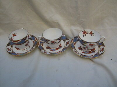 3 Sets of Spode Shima Bone China Floral Footed Cup & Saucer, England Made, EUC
