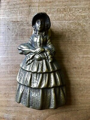 Vintage Solid Brass Door Knocker Lady Figure Woman Hardware Salvage Antique