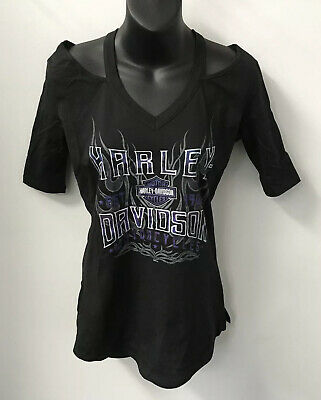 Harley Davidson Womens Pavement Pounder V-Neck Shirt-Black 5AJ8-HHJ3