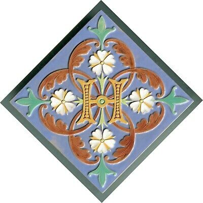 """Relief moulded 6""""sq Majolica tile by Minton & Co, 1869"""