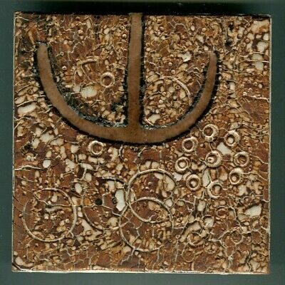 """Hand decorated 6""""sq studio tile by Frank Fidler, 1976"""