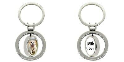 Personalised double sided spinning key ring