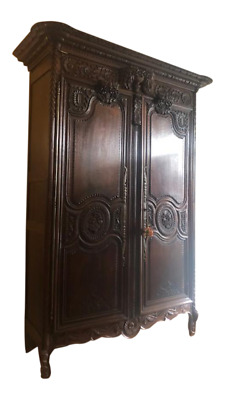 Superb Quality Antique French Carved Oak Two Door Armoire