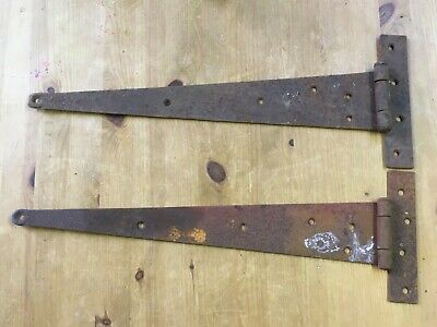 """22"""" Big Long Pair Of Salvaged Old Wrought Iron Heavy Duty T Strap Door Hinges"""