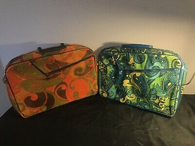 Vintage Retro 70s 60s Groovy Floral Mod Overnight Travel Bag Carry On Suitcase