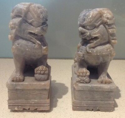 Pair Natural Jade Hand Carved Chinese Temple Foo Dog Lions