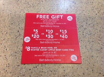 Bath and Body Works 3 Coupons -  $13.95 gift, $10 off $30 purchase